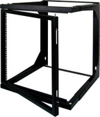 "9U Wall Mount Open Frame Rack – Front Swing Out 20.80""H x 21.65""W x 18""-30""D 66 LBS RATED"