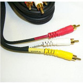 RCA 3 Plug M/M   12' Cable (Video + L/R audio), gold plated