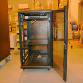 "Server Cabinet 22U 19"", 46""Hx24""Wx38.5""D,Black, includes 3 Shelves and a Fan Tray with ( 4 fans) Castors  Plus Fixed Feet"