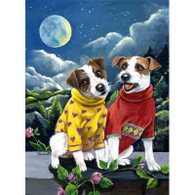 Jack Russell Terrier Moon Garden Flag