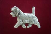 Westie Pewter Pin - Trotting