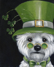 Westie St.Patricks Day Leprechaun Garden Flag