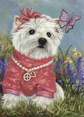 Westie Flower Girl Garden Flag