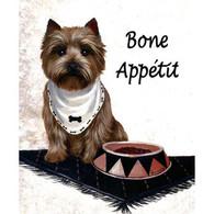 """Cairn Terrier Bone Appetit  6"""" Tile"""