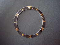 Vintage Style Black Aluminum Bezel Insert With Golden Numbers For Rolex 40mm 2-tone or Golden Submariner Watch