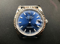 Steel Rolex 116234 DateJust 36mm Watch Set With Fluted Bezel And Blue Dial Fit ETA 2824 Movement