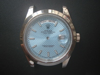 Steel Rolex 228206 Day-Date Watch Set  With Smooth Bezel And Ice Blue Dial Fit ETA 2836 Movement