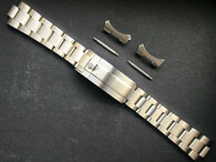 20mm Solid Stainless Steel Upgraded 93150 Submariner Style All Brushed Oyster Watch Band Bracelet Strap With Newer 116610 Clasp Marked Rolex Crown Logo For ROLEX 14060 Or 16610 Or 16800 Or Tudor Black Bay 58 Watch Case