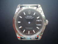 Steel Rolex 116234 DateJust Watch Set  With Smooth Bezel And Black Dial Fit ETA 2824 Movement