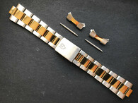 Signed 19mm 2-tone  Oyster Quality Watch Bracelet Band Strap For Vintage 34mm Tudor Prince Date Watch Case