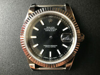 New Style Of Steel Rolex 41mm DateJust Watch Set With Fluted Bezel And Black Dial Has Luminous Sticks Fit ETA 2824 Movement