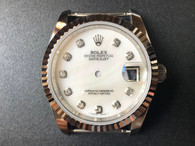 Steel Rolex 116234 DateJust 36mm Watch Set  With Fluted Bezel And Mother Of Pearl White Dial Has Silver CZ Rhinestones Fit ETA 2824 Movement