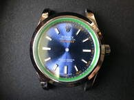 New Style Of Steel Rolex Milgauss 39mm Watch Set  With Smooth Bezel And Blue Dial And Green Crystal Gasket Fit ETA 2824 Movement