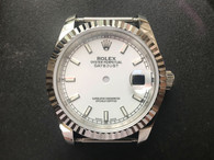 Steel Rolex 116234 DateJust 36mm Watch Set  With Fluted Bezel And White Dial Fit ETA 2824 Movement