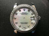Steel Ladies Rolex 31mm DateJust Watch Set  With CZ Rhinestones Bezel And Mother Of Pearl White Dial Has CZ Rhinestones And President Watch Band Fit ETA 2671 Movement