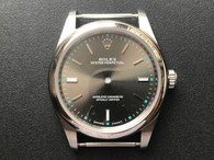 New Style Of 39mm Steel Rolex 114300 Oyster PerPetual Watch Set  With Smooth Bezel And Grey Dial Fit ETA 2824 Movement