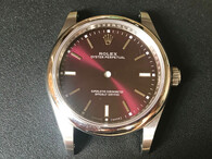 New Style Of 39mm Steel Rolex 114300 Oyster PerPetual Watch Set  With Smooth Bezel And Red Dial Fit ETA 2824 Movement