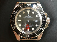 Steel Rolex Deepsea See-dweller Watch Set With Black Ceramic Bezel And Black Dial Has Red Letters Fit ETA 2824 Movement