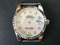 Steel Ladies Rolex 31mm DateJust Watch Set  With Fluted Bezel And Mother Of Pearl White Dial Has CZ Rhinestones And Jubilee Watch Band Fit ETA 2671 Movement