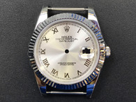 New Style Of Steel Rolex 41mm DateJust Watch Set  With Fluted Bezel And Silver Dial Has Roman Numerals Fit ETA 2824 Movement