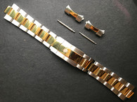 20mm Gold Alloy Plated 2-tone Oyster Quality Watch Bracelet Band Strap With Branded Hidden Clasp For Mens Vintage 36mm ROLEX 2-tone EXPLORER Watch Case