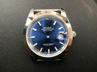 Steel Rolex 116234 DateJust 36mm Watch Set With Smooth Bezel And Blue Dial Has Small Raman Numerals Fit ETA 2824 Movement