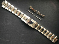 20mm Solid Stainless Steel Upgraded 93150 Submariner Style Polished  Cetner Oyster Watch Band Bracelet Strap With Newer 116610 Clasp Marked Rolex Crown Logo For ROLEX 14060 Or 16610 Or 16800 Watch Case
