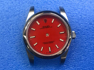 Ladies Newes Style Of Steel Rolex 31mm Oyster Perpetual Watch Set  With Domed Bezel And Red Dial And Oyster Watch Band Fit ETA 2671 Movement