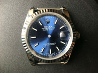 Steel Rolex 116234 DateJust 36mm Watch Set With Fluted Bezel And Blue Dial Has Small Arabic Numerals Fit ETA 2824 Movement