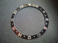 Vintage ROLEX GMT Master Style Black Aluminum Bezel Insert With Silver Numbers