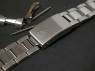 Signed 19mm Solid stainless Steel Polished Center Oyster Quality Watch Bracelet Band Strap For Vintage 34mm Rolex Watch Case