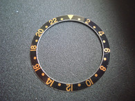 Vintage Style Of Black Aluminum Bezel Insert With Golden Numbers For ROLEX 40mm GMT Master  Watch
