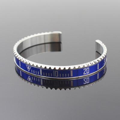 Silver Blue Titanium Steel Rolex Watch Bezel Wrist Bangle Bracelet  Speedometer Submariner Sub Oyster
