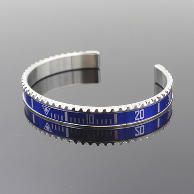 f23a93b3762 Silver Blue Titanium Steel Rolex Watch Bezel Wrist Bangle Bracelet ...