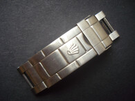 Rolex Signed Stainless Steel All Brushed Flip-Lock Clasp With Solid Extension Link for Mens 20mm 16610 Submariner Oyster Watch Band Bracelet