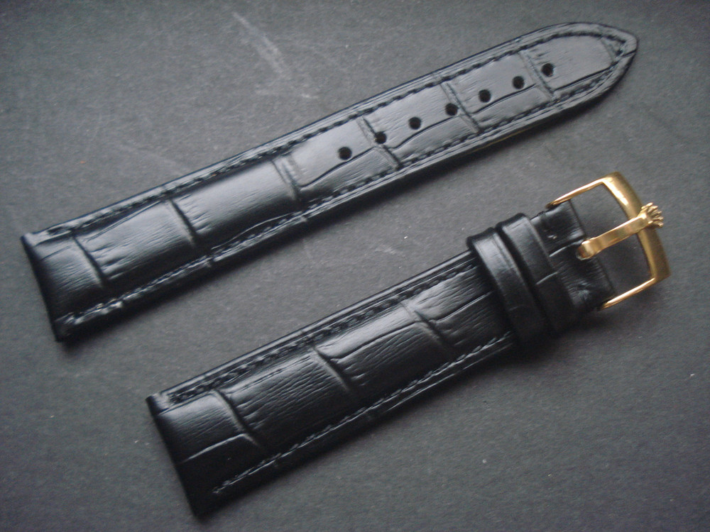 458a8b4f858 20mm Black Genuine Italy Leather Band Strap With Golden Buckle ...