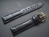 20mm Black Genuine Italy Leather Band Strap With Golden Buckle Marked Crown Logo For The Rolex Watch