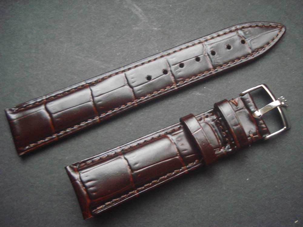 52f60e4fb4c 20mm Brown Genuine Italy Leather Band Strap With Steel Buckle Marked ...