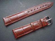 19mm Brown Genuine Italy Leather Band Strap With Steel Buckle Marked Crown Logo For The Rolex Watch