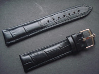 20mm Black Genuine Italy Leather Band Strap With Steel Buckle Marked Crown Logo For The Rolex Watch