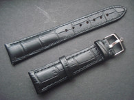19mm Black Genuine Italy Leather Band Strap With Steel Buckle Marked Crown Logo For The Rolex Watch
