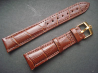19mm Brown Genuine Italy Leather Band Strap With Golden Buckle Marked Crown Logo For The Rolex Watch
