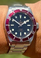 Tudor Heritage Black Bay 79220R 41mm Watch Set With Red Bezel And Dial Marked Rose Logo Has Super Luminova Fit ETA 2824 Movement