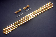 19mm Signed Gold Alloy Plated Golden President Watch Band Bracelet Strap With Curved End Pieces For Old 34mm ROLEX DATEJUST Watch
