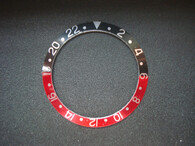 Vintage ROLEX GMT-MASTER Style Black-Red Aluminum Bezel Insert With Silver Numbers
