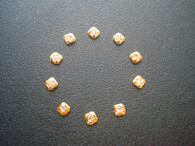 10 Pcs Golden Square Hour Markers  With Sides Of 2.5mm And CZ Rhinestones For Mens Rolex DateJust Or Day-Date Watch Dial