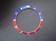 Vintage ROLEX Submariner Style Pepsi Blue-Red Aluminum Bezel Insert With Silver Numbers
