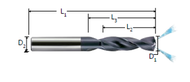 Melin - .1063 - 2.7 mm H.P Coolant Fed Carbide Drill 5 x D NaCo CDR-2.7mm-5X - 14505