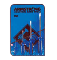 Armstrong - 4 Pc. Solid Handle, Slotted Tip, Square Shank Screwdriver Set / 66-606