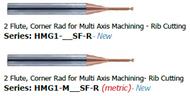 1/32 - 1/4 Melin 2 Flute  Corner Radius for Multi Axis Machining